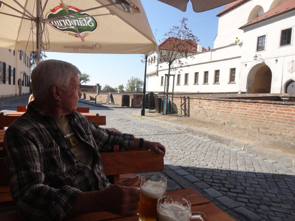 John Reilich drinking the Starobrno beer in the Spilberk fortress in Brno